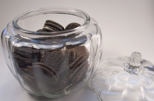 Chocolate Cookies in a clear glass jar