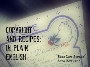 Copyright and Recipes in Plain English