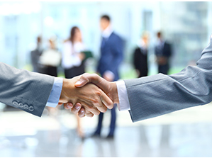 Male forearms shaking hands stock photo