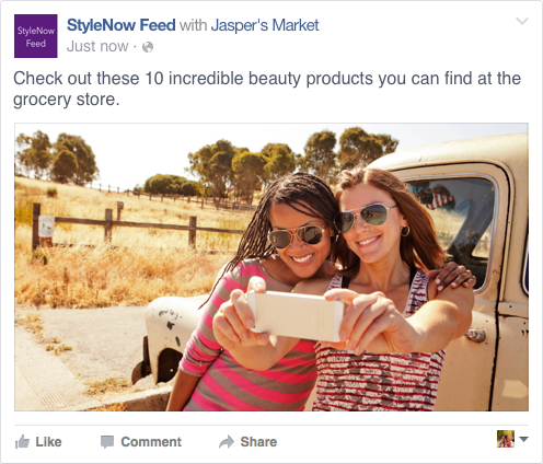 Facebook post with brand partner designation next to Page name from using the Branded Content Tool