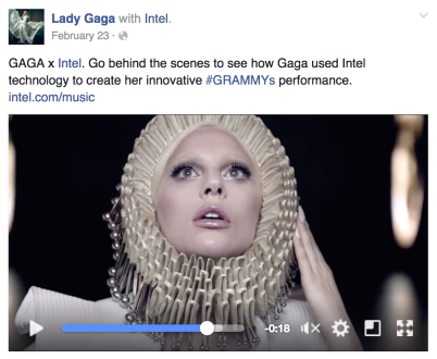 Lady GaGa Facebook Branded Content Example