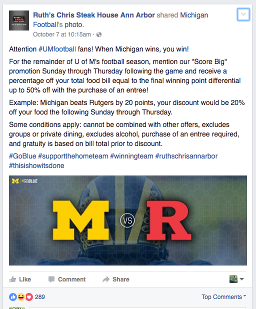 Ruth's Chris Ann Arbor October 7 Facebook Post announcing their Michigan Football promotion