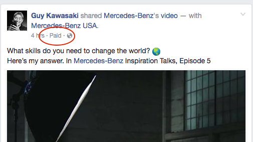 Example of how Facebook indicates with a Paid tag when Branded Content posted using the Branded Content Tool